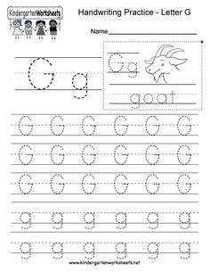 "This is a letter G tracing worksheet. Children can trace uppercase and lowercase letters and the word ""goat."" You can download, print, or use it online. Handwriting Worksheets For Kindergarten, Alphabet Writing Worksheets, Writing Practice Worksheets, Printable Preschool Worksheets, Preschool Writing, Preschool Letters, Handwriting Alphabet, Free Printable, Writing Practice For Kids"