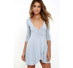 Sway the Night Blue Grey Wrap Dress | SHOP @ CollectiveStyles.com