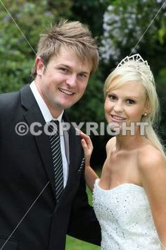 Lovely young smiling couple on their wedding day