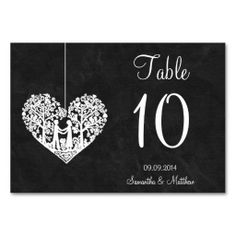 Hanging Tree Heart On Chalkboard Table Numbers