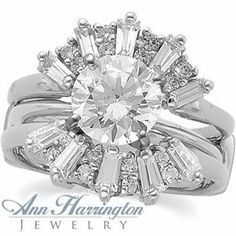 Sunburst Style Ring Guard With Round And Baguette Cut