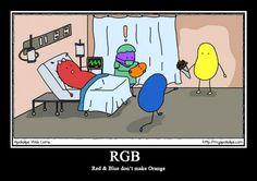 """Red and blue don't make orange. Myapokalips spiega come funziona il metodo di colore RGB con la simpatica vignetta """"Red and blue don't make orange""""."""