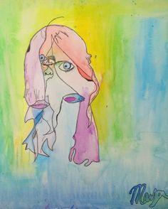 blind contour watercolors