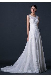 Round Neck A-line Lace Modest Wedding Dress Features Beading Details