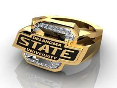 OSU Ring. Mens Yellow Gold and Diamond Oklahoma State University Ring.