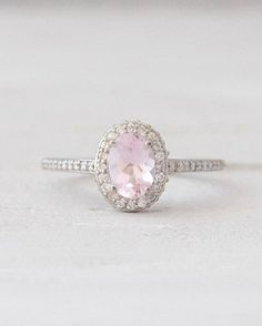 Oval Pale Pink Morganite Ring and Diamond  Halo Setting Morganite Engagement Ring 14K White Yellow Rose Gold Bridal Jewelry
