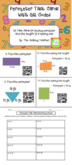 These 20 perimeter task cards help students find total perimeter and missing side lengths. Includes QR codes for self checking, a student recording sheet, and an answer key. $