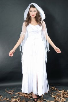 Womens Pure White Hooded Fringe Halloween #Ghost #Costume #2014 Cute #Halloween #Costumes #Fashion #Women Diy Homemade Creative #Cheap #Sexy Halloween Costumes For Teens. pinkqueen.com