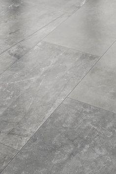Wohnwelten Do you want concrete look instead of peeled planks or parquet? Then lay this laminate wit Concrete Tiles, Stone Tiles, Vinyl Flooring, Laminate Flooring, Flooring Ideas, Toilet Accessories, Light Blue Flowers, Tiles Texture, Luxury Vinyl