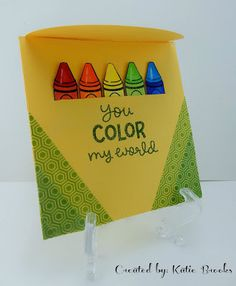 could do a pocket card with crayons inside and card opens to color page type inside - Lawnscaping Challenge: Lawn Fawn Back To School Color My World Card by Katie Brooks. Lawn Fawn Blog, Fawn Colour, Kids Birthday Cards, Teacher Birthday Card, Teacher Cards, Lawn Fawn Stamps, Shaped Cards, Card Making Inspiration, Kids Cards