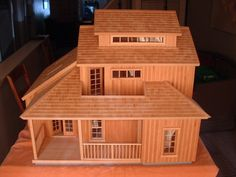 For sale A beautiful handmade wooden model house , it is totally handmade with b… - Modern Popsicle Stick Houses, Popsicle Stick Crafts, Craft Stick Crafts, Cabin Dollhouse, Fairy Doors, Cardboard Crafts, Miniature Houses, Fairy Houses, Model Homes