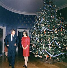Vintage Christmas Photograph ~ President and Mrs. Kennedy with the White House Blue Room Christmas Tree ~ 1961