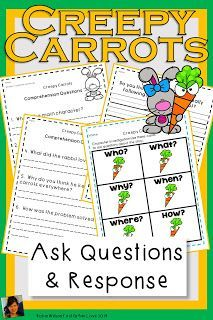 Creepy Carrots Activities will help students understand plot with comprehension questions, games, vocabulary, grammar, fluency, phonics, comprehension strategies, sequencing, writing, and a comprehension test with answer key! Creepy Carrots Activities is great for guided reading or whole group! Robin Wilson, Comprehension Strategies, Private School, Guided Reading, Classroom Activities, First Grade, Phonics, Social Studies, Grammar