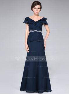 Corte A/Princesa Hombros caídos Vestido Chifón Vestido de madrina con Bordado Cascada de volantes (008042309)