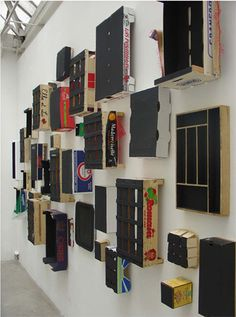 Menu in progress, 2005 | set of 60 boxes. acrylic paint on cardboard, wood, paper, plastic and polystyrene