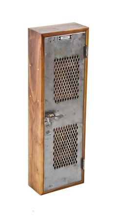 custom-built repurposed solid walnut wood diminutive wall-mount compartmentalized cabinet combined with a vintage metal locker door