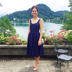 "Look ""casamento na ilha + castelinho + beira do lago"" vestido Miu Miu, brinco e bolsa vintage & sapato Louboutin"