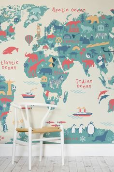 Kids World Map Mural A beautifully illustrated map mural that would look amazing in a kid's bedroom or playroom.A beautifully illustrated map mural that would look amazing in a kid's bedroom or playroom. World Map Mural, Kids World Map, World Map Wallpaper, Nursery Wallpaper, Wallpaper Ideas, Amazing Wallpaper, Trendy Wallpaper, Wallpaper Designs, Wallpaper For Kids Room