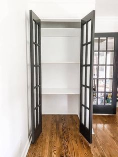 A simple way to build closet shelves for easy vertical storage + 3 steps to turn bifold doors into double French doors.