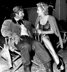 """""""Marilyn Monroe and Arthur O'Connell on the set of Bus Stop, 1956. """""""