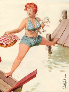 Hilda - with one foot on dock and one foot on rowboat while boat drifts away.
