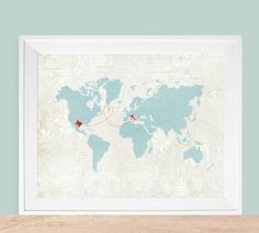 Large World Map Customized Love Theme - Map Sizes: 12x18 up to 24x36 ( as featured on Disneybaby )
