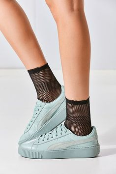 Slide View: 1: Puma Basket Patent Leather Platform Sneaker