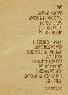 Dave Matthews song lyrics print  I'll back you by SummerRainDesign, $9.00