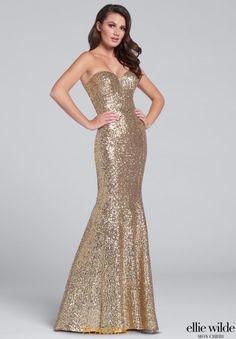 Strapless Fitted Ellie Wilde Dress EW117033