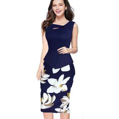 Nice-forever New arrival Print Floral Solid Patchwork Button Casual Work Sleeveless Bodycon Spring Summer office Dress b288