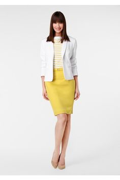 Spring/summer office look Summer Office Looks, Yellow Pencil Skirt, Spring Work Outfits, Yellow Fashion, Office Fashion, Style Me, Cute Outfits, Dresses For Work, Street Style