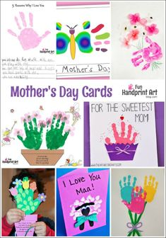 Handprint Mother's Day Cards or swap words and colors for Fathers Day Cards! Mothers Day Cards Craft, Fathers Day Crafts, Kids Cards, Toddler Crafts, Preschool Crafts, Kid Crafts, Mother's Day Theme, Mother's Day Activities, Spring Activities