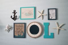 Project Nursery - Nautical Wall Gallery- buy a small mirror & add rope!