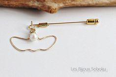 Gold Pearl Brooch Pearl Brooch Stick Hat Pin Open Heart