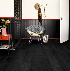 Quick-Step 'Impressive' Burned Planks Laminate FlooringThis black laminate flooring displays a highly convincing look of a burnt oak floor, which has been heavily textured for extraordinary character. Combining this floor with contrasting interior Hand Scraped Laminate Flooring, Black Laminate Flooring, Laminate Flooring Bathroom, Waterproof Laminate Flooring, Real Wood Floors, Wood Laminate, Plank Flooring, Vinyl Flooring, Flooring Ideas