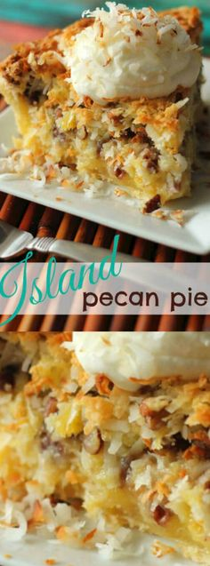 This Island Pecan Pie recipe comes from a famous pie diner in Arkansas. This Island Pecan Pie recipe comes from a famous pie diner in Arkansas. It is loaded with pineapple, coconut, and pecans in a delicious creamy filling. Pie Dessert, Dessert Recipes, Dessert Healthy, Recipes Dinner, Sweet Pie, How Sweet Eats, Family Meals, Family Recipes, Family Family