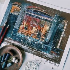 «#softpastels, #canson Mi-Tentis Touth #derwent pencils На эту бумагу тема зимнего кафе легла идеально! Все, как я люблю: фактурно, ярко, снежится…»