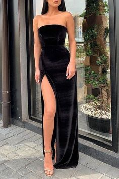 Sexy Black Strapless Slit Prom Evening Dress CR 2465 - 2020 New Prom Dresses Fashion - Fashion Of The Year Strapless Prom Dresses, Grad Dresses, Prom Party Dresses, Ball Dresses, Wedding Dresses, Black Strapless Dress, Bridesmaid Gowns, Long Slit Dress, Chiffon Dresses