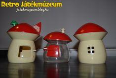 Ezúttal néhány Csehszlovákiában gyártott perselyt szeretnék bemutatni nektek, amelyeknek közös motívuma, hogy mindegyiknek gombaház formája van.