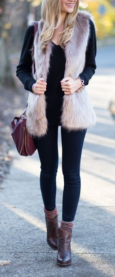 trendy winter brown camel faux fur vest glit. Paired it with black leggings and ankle boots for a chic casual look. featured by blondeexpeditions http://chicwish.com