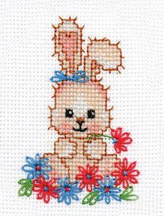 Cross stich pattern Flower bunny von SashaLuda auf Etsy