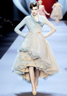 Christian Dior. Silky, shiny hair, chignon, blue, creme, runway, red lip