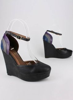 http://fbfanpages.us/pinnable-post/color-block-maryjane-wedge/ Colorblock maryjane wedge styled with single ankle strap and closed toe. Heel height: 5 inches. Women's whole & half sizes. All Man Made Material. Imported.