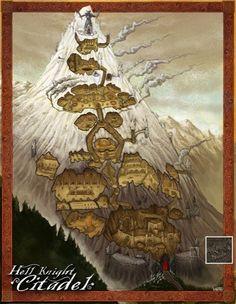 Hell Knight Citadel by Jared Blando - Fantastic Maps Fantasy City, Fantasy Places, Fantasy Map, Fantasy Kunst, Medieval Fantasy, Fantasy World, Dark Sun, Dwarven City, Pathfinder Maps