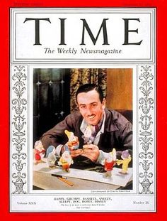Walt DWalt Disney on the cover of Time magazine, December 27, 1937, along with his seven new friends.