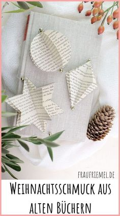 Make Christmas tree decorations yourself from old books Mrs. Friemel- DIY Christmas: make Christmas tree decorations yourself from old books. Christmas book origami tinker as a gift or for your own Christmas tree. How To Make Christmas Tree, Christmas Makes, Christmas Books, Christmas Time, Christmas Crafts, Christmas Decorations, Christmas Ornaments, Paper Ornaments, Handmade Decorations
