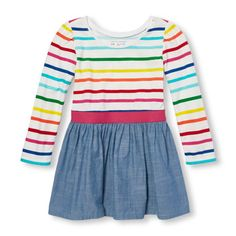 Toddler Girls Long Sleeve Rainbow Stripe Jersey And Chambray Dress