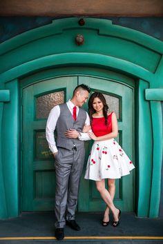Disneyland Engagement and Wedding Spotlight: Marina and Jason Disneyland Couples, Disneyland Engagement Photos, Disney Engagement, Disney Couples, Engagement Pictures, Engagement Shoots, Wedding Engagement, Disney Dapper Day, Disney Day
