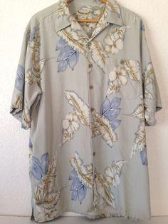 Paradise Cove Mens Tiki Hibiscus Floral Short Sleeve Hawaiian Silk Shirt  XL #ParadiseCove #Hawaiian