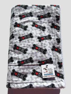 Dog Bone Blanket, I Love My Dog, Toddler Nap Blanket, Stroller Blanket, Flannel Baby Blanket, Puppy Bedding, Car Seat Cover, Dog Bones by ComfyPetPads on Etsy